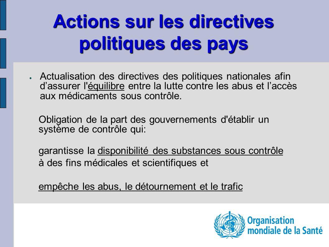 Actualisation des directives des politiques nationales afin dassurer l'équilibre entre la lutte contre les abus et laccès aux médicaments sous contrôl