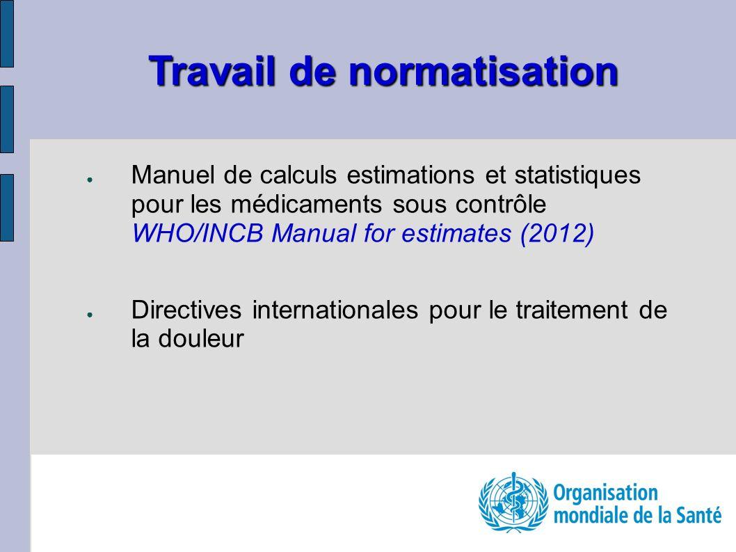 Manuel de calculs estimations et statistiques pour les médicaments sous contrôle WHO/INCB Manual for estimates (2012) Directives internationales pour