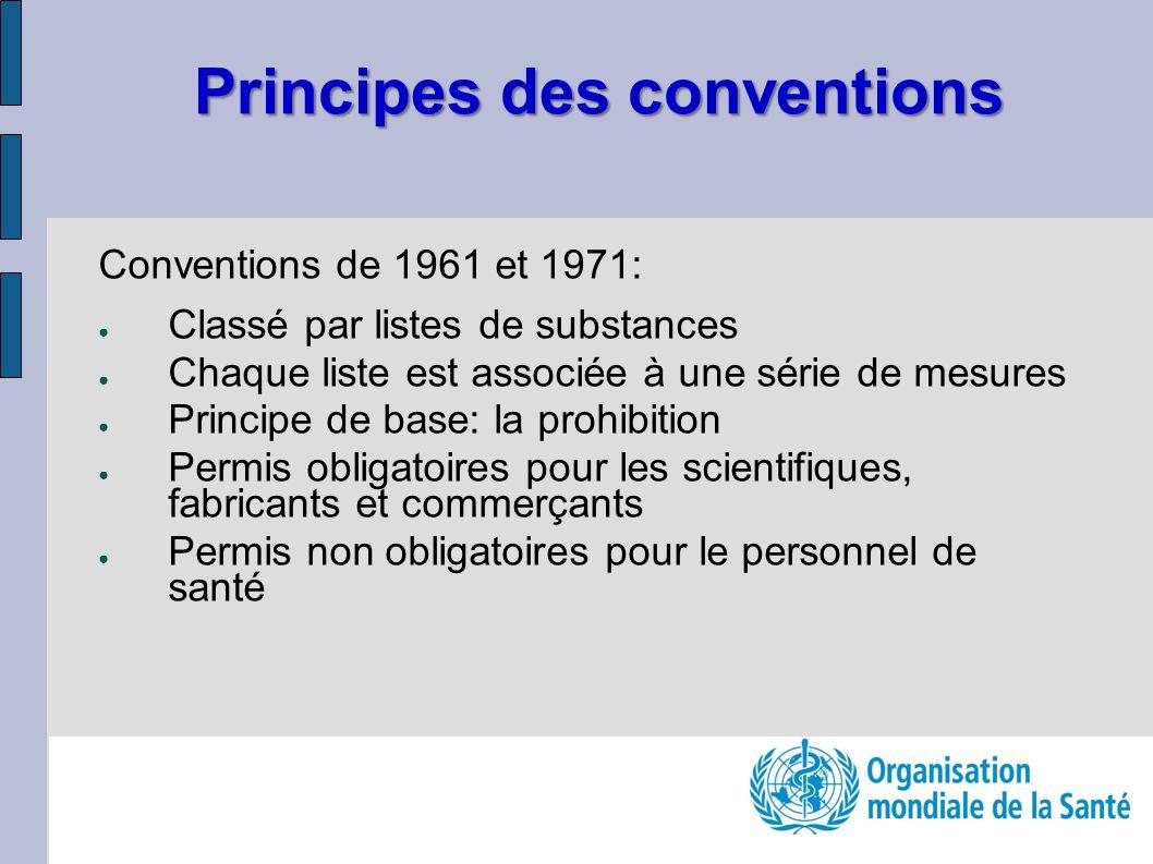 Principes des conventions Conventions de 1961 et 1971: Classé par listes de substances Chaque liste est associée à une série de mesures Principe de ba