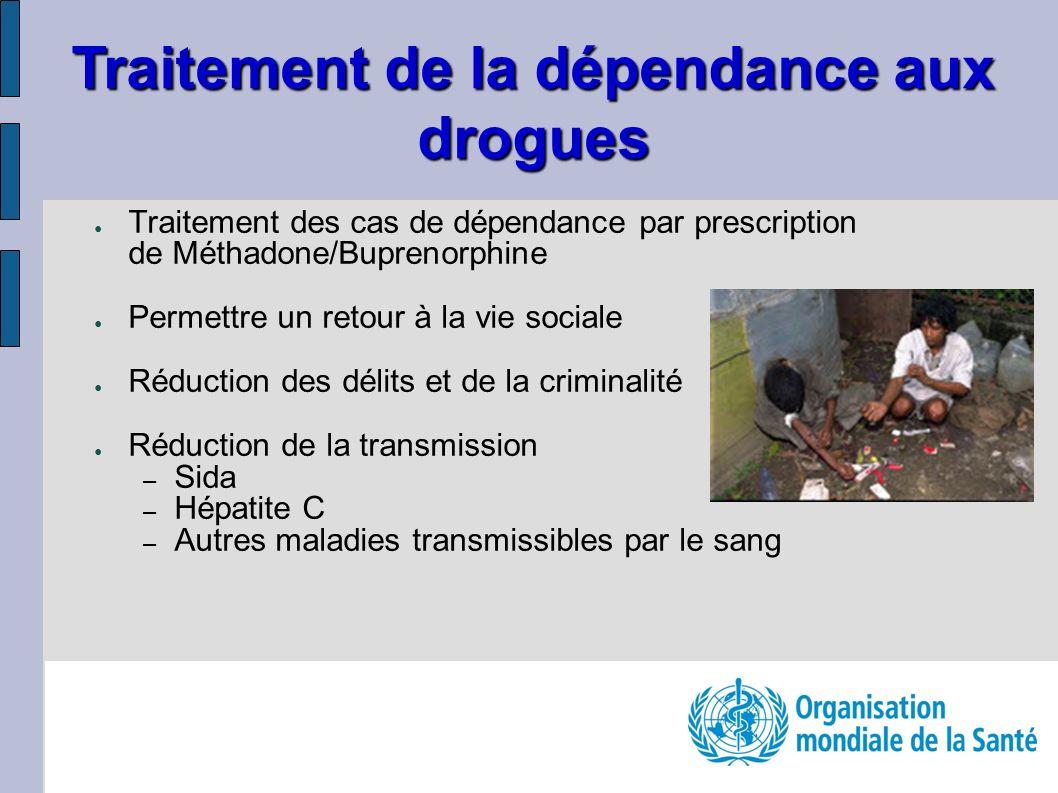 Traitement des cas de dépendance par prescription de Méthadone/Buprenorphine Permettre un retour à la vie sociale Réduction des délits et de la crimin