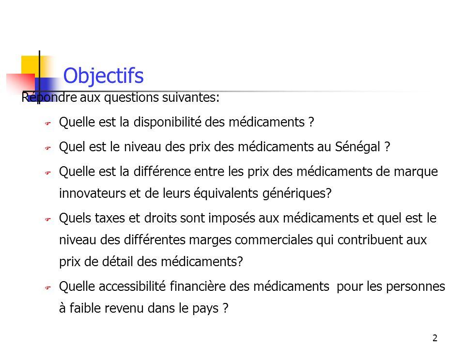 2 Objectifs Répondre aux questions suivantes: Quelle est la disponibilité des médicaments ? Quel est le niveau des prix des médicaments au Sénégal ? Q
