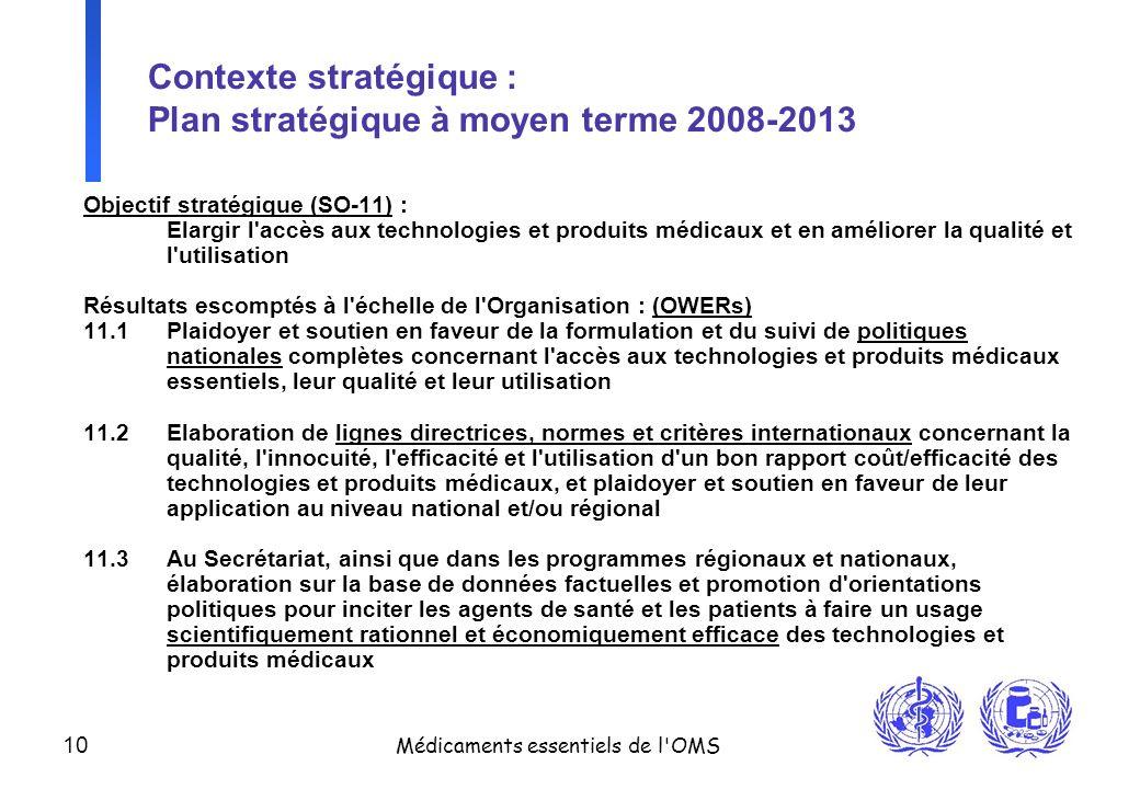 10 Médicaments essentiels de l'OMS Contexte stratégique : Plan stratégique à moyen terme 2008-2013 Objectif stratégique (SO-11) : Elargir l'accès aux