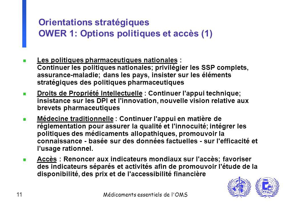 11 Médicaments essentiels de l'OMS Orientations stratégiques OWER 1: Options politiques et accès (1) n Les politiques pharmaceutiques nationales : Con