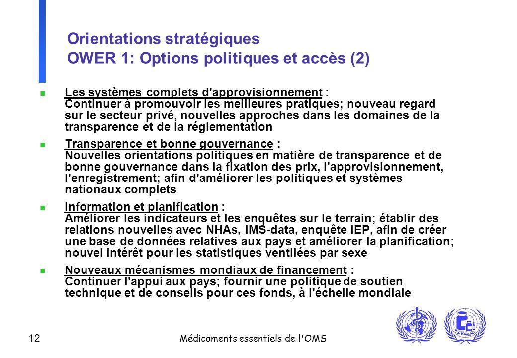 12 Médicaments essentiels de l'OMS Orientations stratégiques OWER 1: Options politiques et accès (2) n Les systèmes complets d'approvisionnement : Con