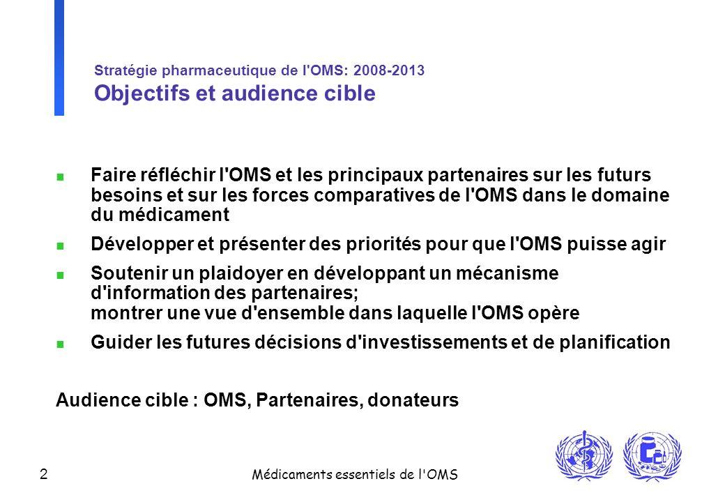 2 Médicaments essentiels de l'OMS Stratégie pharmaceutique de l'OMS: 2008-2013 Objectifs et audience cible n Faire réfléchir l'OMS et les principaux p
