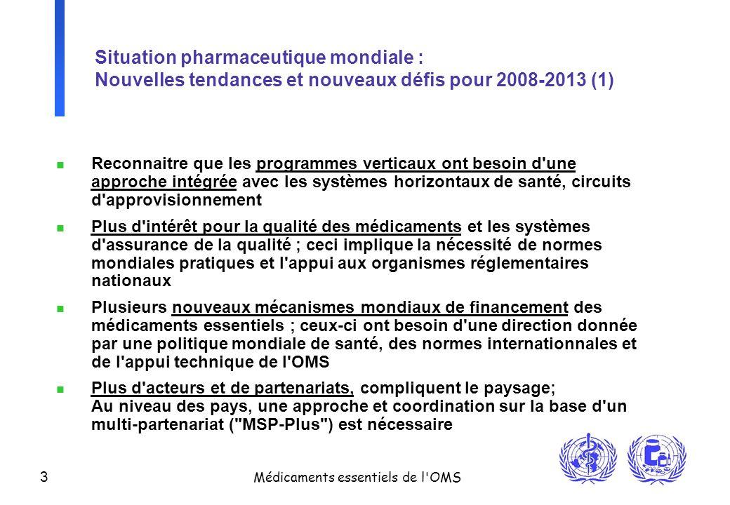 3 Médicaments essentiels de l'OMS Situation pharmaceutique mondiale : Nouvelles tendances et nouveaux défis pour 2008-2013 (1) n Reconnaitre que les p