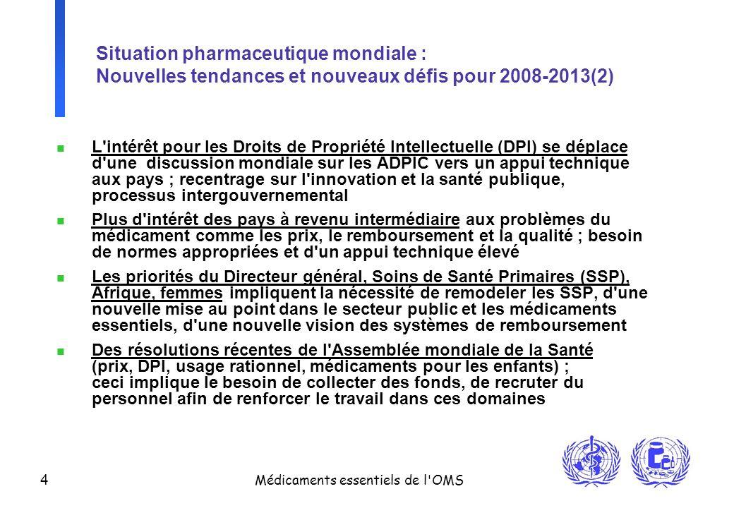 4 Médicaments essentiels de l'OMS Situation pharmaceutique mondiale : Nouvelles tendances et nouveaux défis pour 2008-2013(2) n L'intérêt pour les Dro