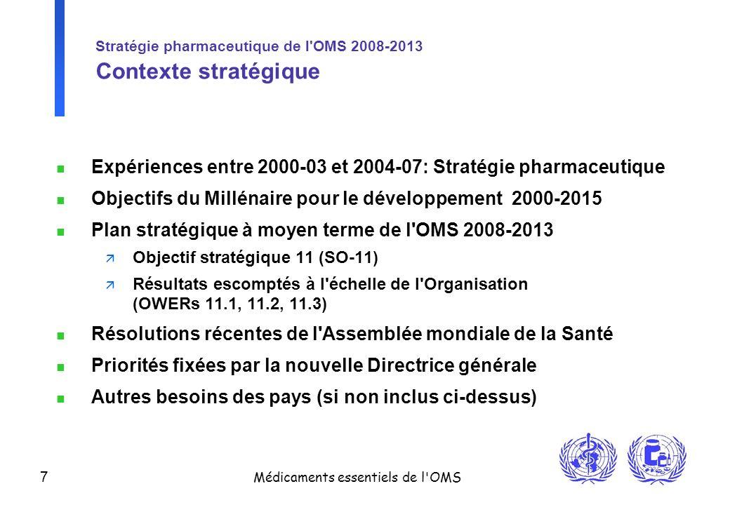 7 Médicaments essentiels de l'OMS Stratégie pharmaceutique de l'OMS 2008-2013 Contexte stratégique n Expériences entre 2000-03 et 2004-07: Stratégie p