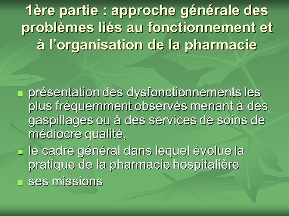 1ère partie : approche générale des problèmes liés au fonctionnement et à lorganisation de la pharmacie présentation des dysfonctionnements les plus f