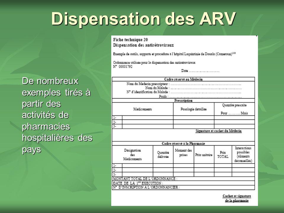 Dispensation des ARV De nombreux exemples tirés à partir des activités de pharmacies hospitalières des pays
