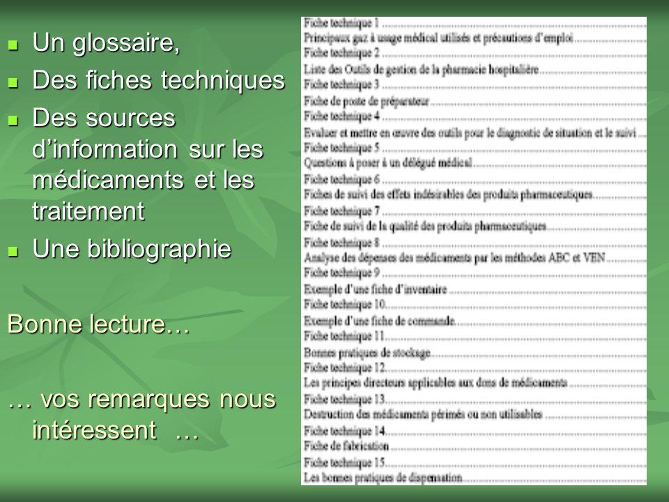 Un glossaire, Un glossaire, Des fiches techniques Des fiches techniques Des sources dinformation sur les médicaments et les traitement Des sources din