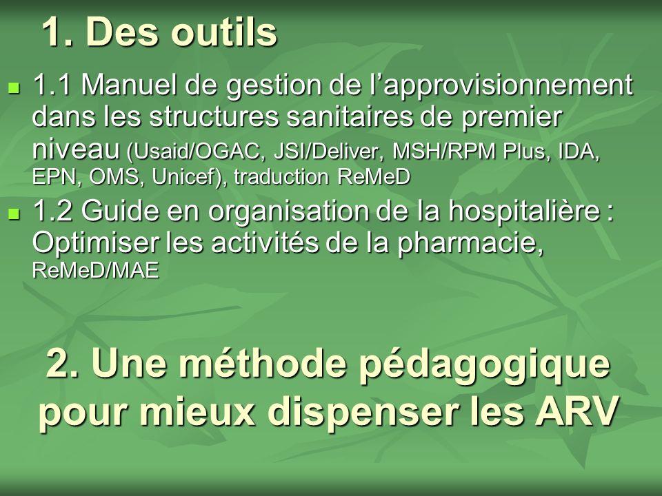 1.1 Manuel de gestion de lapprovisionnement dans les structures sanitaires de premier niveau (Usaid/OGAC, JSI/Deliver, MSH/RPM Plus, IDA, EPN, OMS, Unicef) Les activités décrites sont des procédures de gestion pour renforcer les capacités des « gestionnaires du médicament » dans les dispensaires et centres de santé
