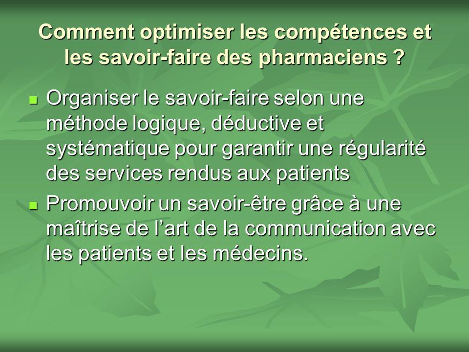 Comment optimiser les compétences et les savoir-faire des pharmaciens ? Organiser le savoir-faire selon une méthode logique, déductive et systématique