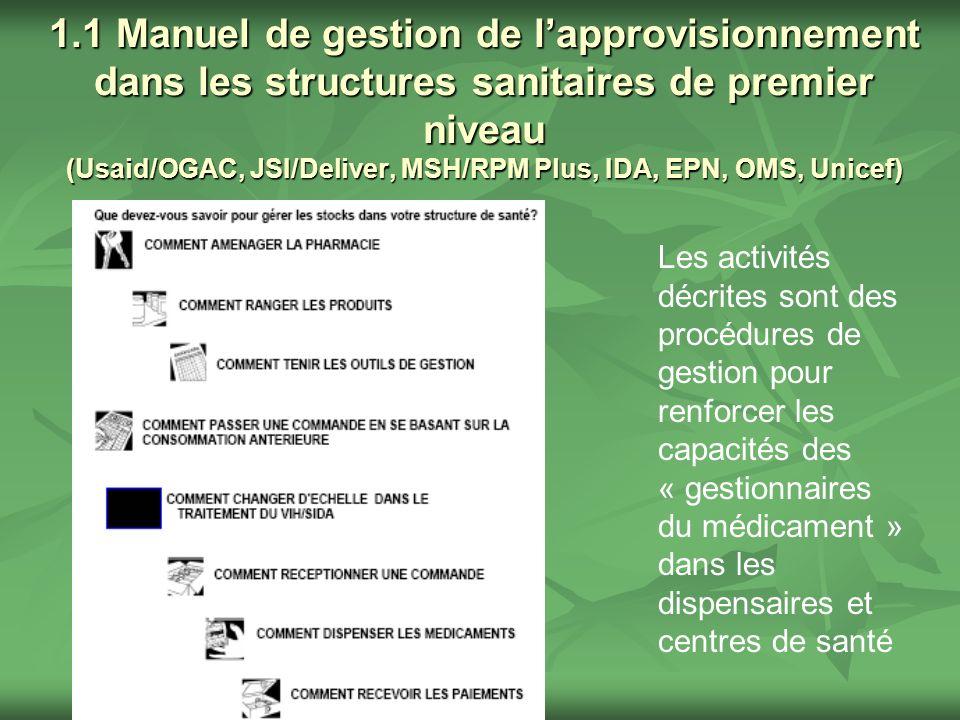 1.1 Manuel de gestion de lapprovisionnement dans les structures sanitaires de premier niveau (Usaid/OGAC, JSI/Deliver, MSH/RPM Plus, IDA, EPN, OMS, Un