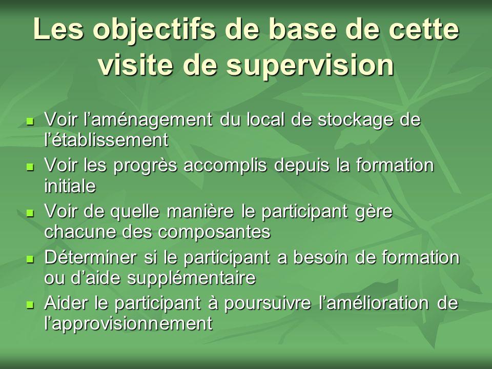 Les objectifs de base de cette visite de supervision Voir laménagement du local de stockage de létablissement Voir laménagement du local de stockage d