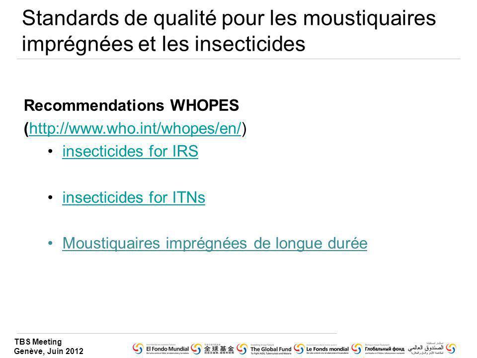 TBS Meeting Genève, Juin 2012 Standards de qualité pour les moustiquaires imprégnées et les insecticides Recommendations WHOPES (http://www.who.int/wh