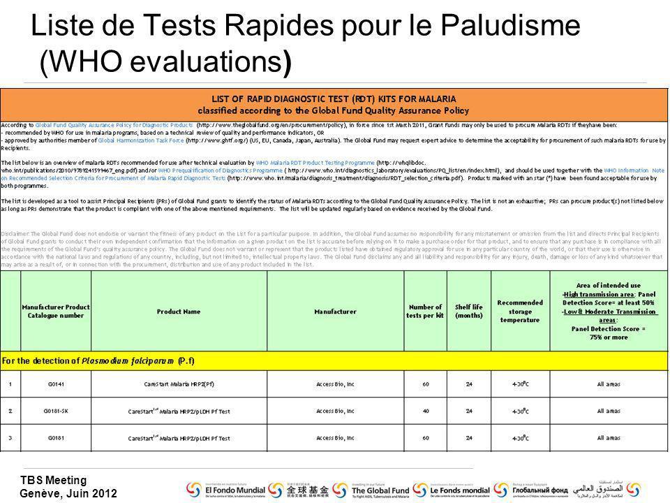 TBS Meeting Genève, Juin 2012 Liste de Tests Rapides pour le Paludisme (WHO evaluations)