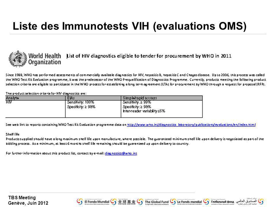 TBS Meeting Genève, Juin 2012 Liste des Immunotests VIH (evaluations OMS)