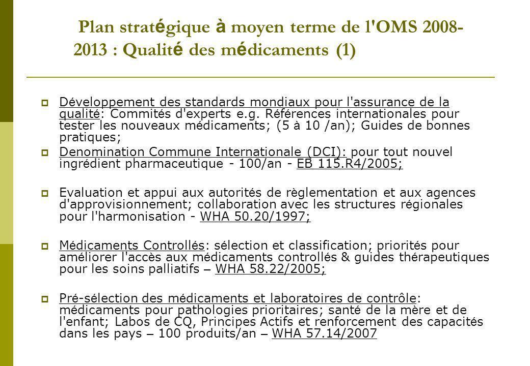 Plan strat é gique à moyen terme de l OMS 2008- 2013 : Qualit é des m é dicaments (1) D é veloppement des standards mondiaux pour l assurance de la qualit é : Commit é s d experts e.g.