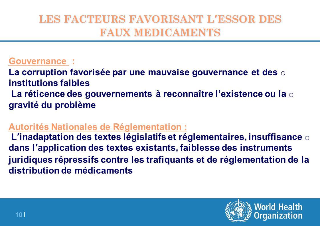 10 | Gouvernance : o La corruption favorisée par une mauvaise gouvernance et des institutions faibles o La réticence des gouvernements à reconnaître l