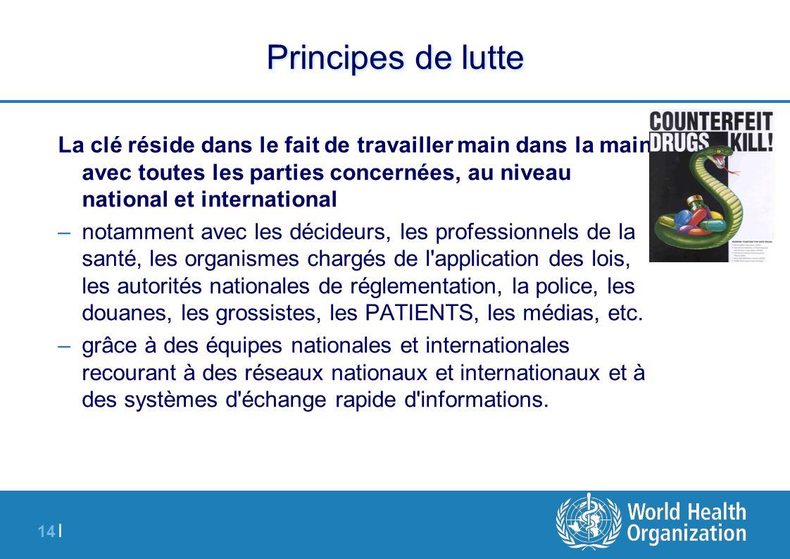 14 | Principes de lutte La clé réside dans le fait de travailler main dans la main avec toutes les parties concernées, au niveau national et internati