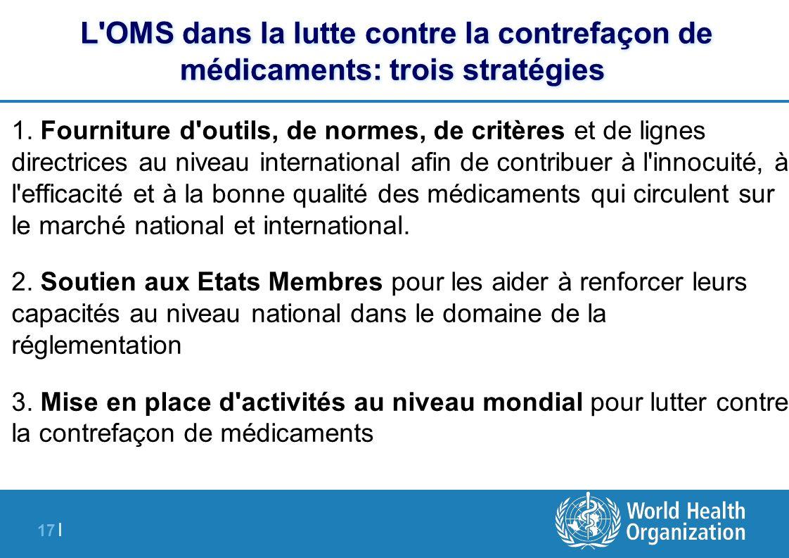 17 | L'OMS dans la lutte contre la contrefaçon de médicaments: trois stratégies 1. Fourniture d'outils, de normes, de critères et de lignes directrice