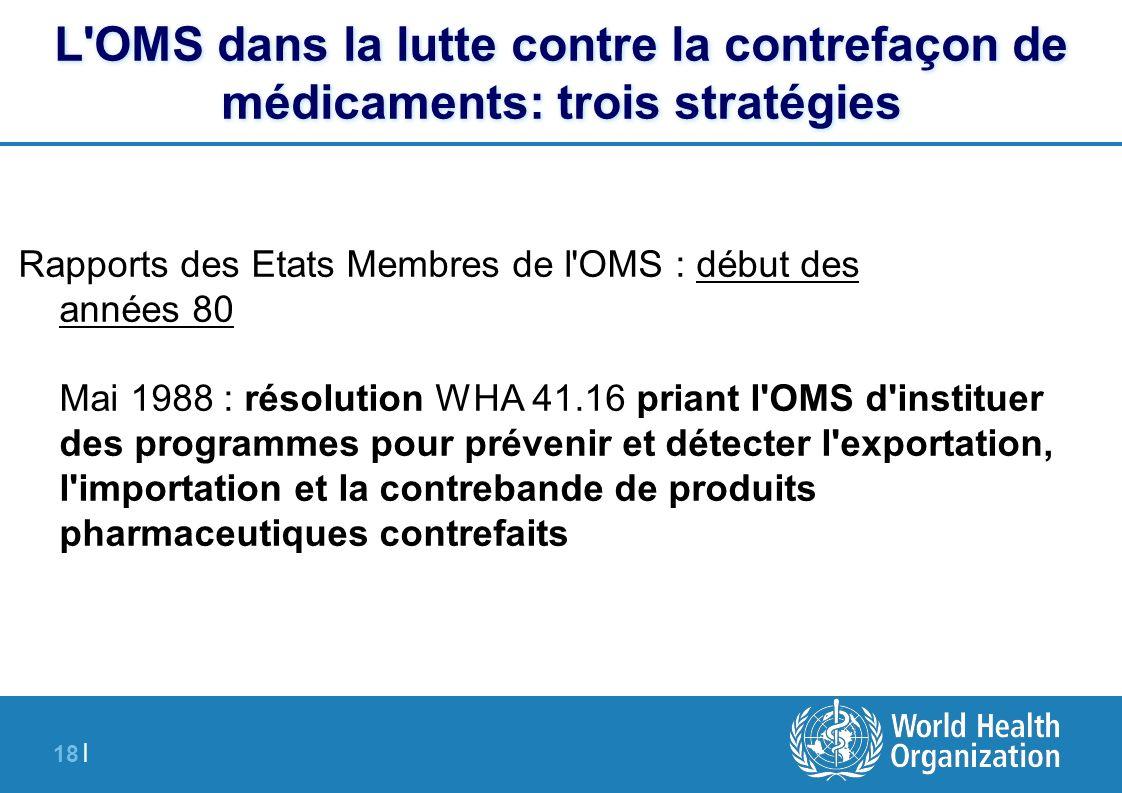 18 | L'OMS dans la lutte contre la contrefaçon de médicaments: trois stratégies Rapports des Etats Membres de l'OMS : début des années 80 Mai 1988 : r