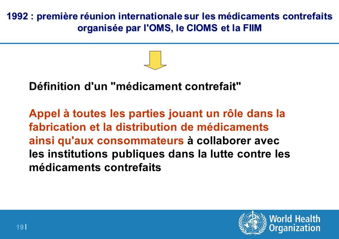 19 | 1992 : première réunion internationale sur les médicaments contrefaits organisée par l'OMS, le CIOMS et la FIIM Définition d'un