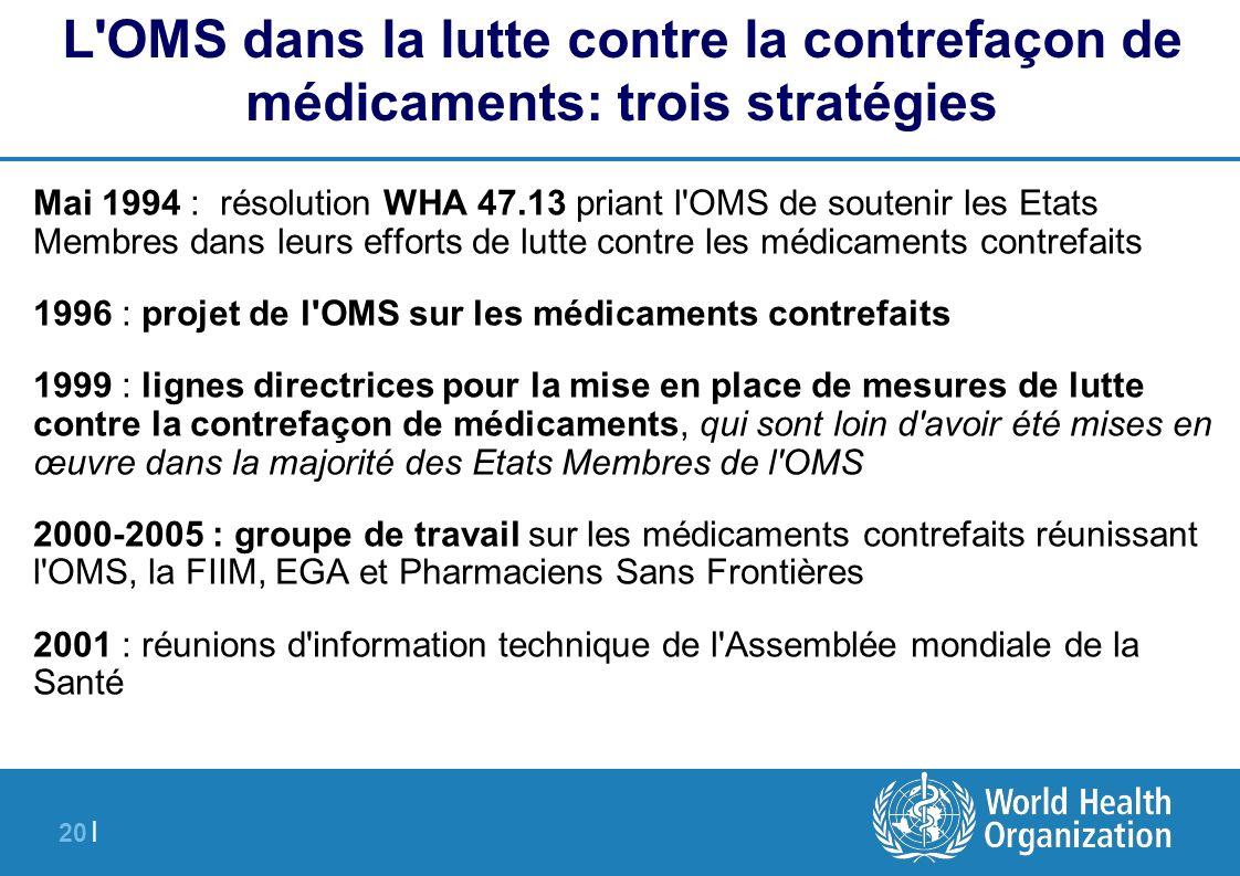 20 | Mai 1994 : résolution WHA 47.13 priant l'OMS de soutenir les Etats Membres dans leurs efforts de lutte contre les médicaments contrefaits 1996 :