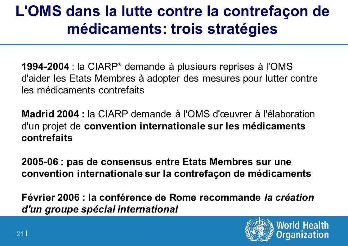 21 | 1994-2004 : la CIARP* demande à plusieurs reprises à l'OMS d'aider les Etats Membres à adopter des mesures pour lutter contre les médicaments con