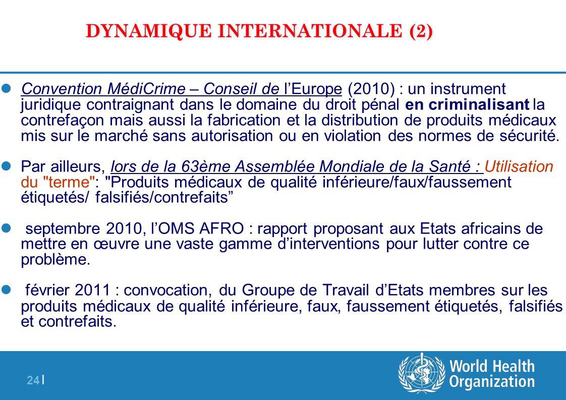 24 | DYNAMIQUE INTERNATIONALE (2) Convention MédiCrime – Conseil de lEurope (2010) : un instrument juridique contraignant dans le domaine du droit pén