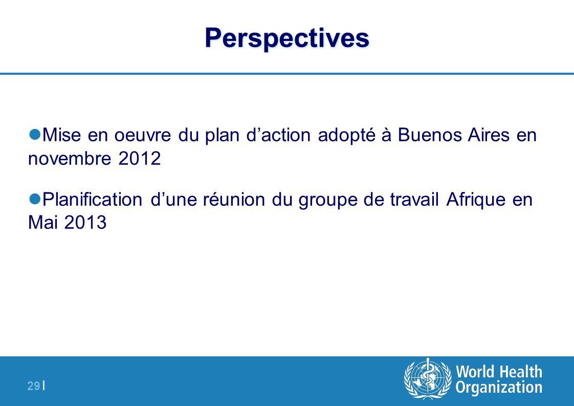 29 | Perspectives Mise en oeuvre du plan daction adopté à Buenos Aires en novembre 2012 Planification dune réunion du groupe de travail Afrique en Mai
