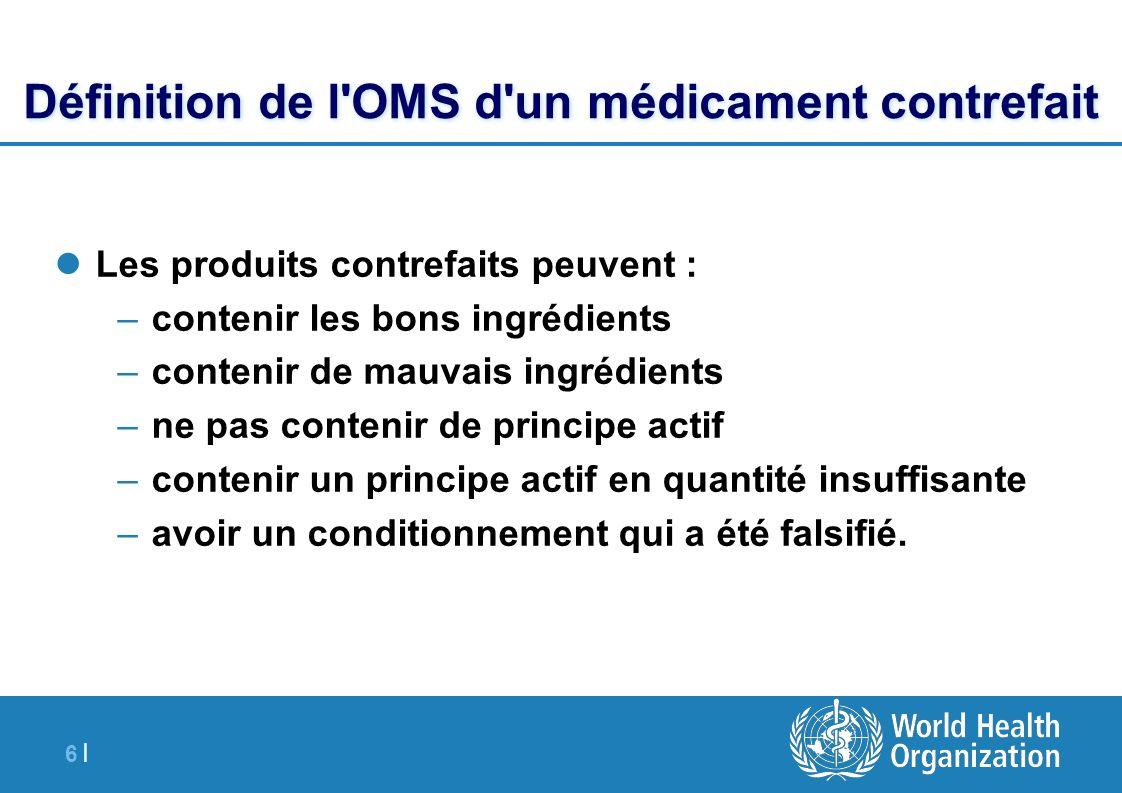 6 |6 | Définition de l'OMS d'un médicament contrefait Les produits contrefaits peuvent : –contenir les bons ingrédients –contenir de mauvais ingrédien