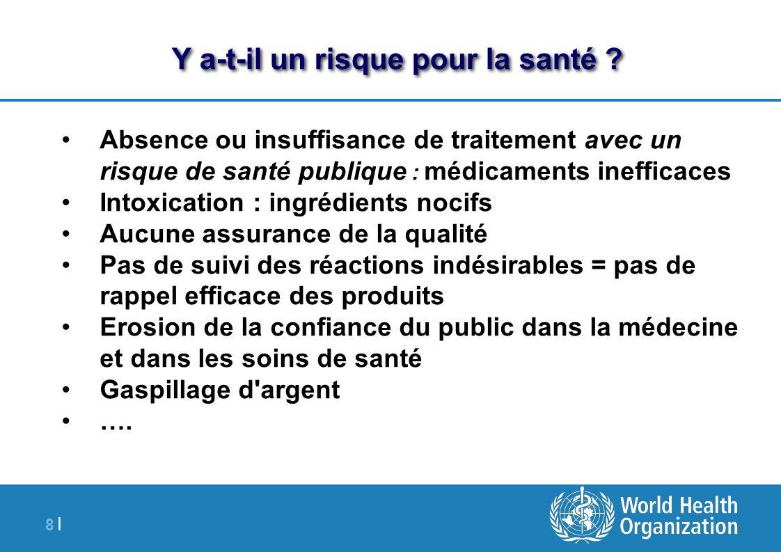 8 |8 | Y a-t-il un risque pour la santé ? Absence ou insuffisance de traitement avec un risque de santé publique : médicaments inefficaces Intoxicatio