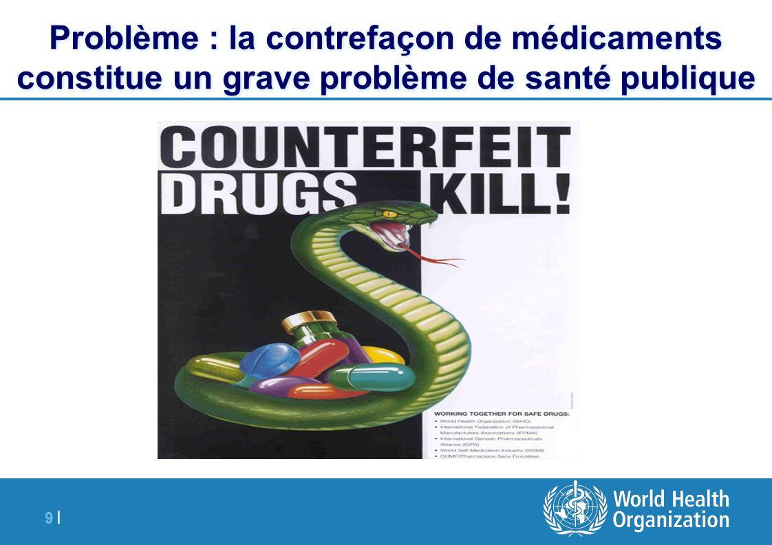 20 | Mai 1994 : résolution WHA 47.13 priant l OMS de soutenir les Etats Membres dans leurs efforts de lutte contre les médicaments contrefaits 1996 : projet de l OMS sur les médicaments contrefaits 1999 : lignes directrices pour la mise en place de mesures de lutte contre la contrefaçon de médicaments, qui sont loin d avoir été mises en œuvre dans la majorité des Etats Membres de l OMS 2000-2005 : groupe de travail sur les médicaments contrefaits réunissant l OMS, la FIIM, EGA et Pharmaciens Sans Frontières 2001 : réunions d information technique de l Assemblée mondiale de la Santé L OMS dans la lutte contre la contrefaçon de médicaments: trois stratégies