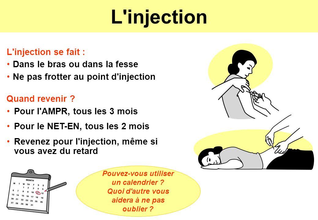 L'injection Pour l'AMPR, tous les 3 mois Pour le NET-EN, tous les 2 mois Revenez pour l'injection, même si vous avez du retard Quand revenir ? L'injec