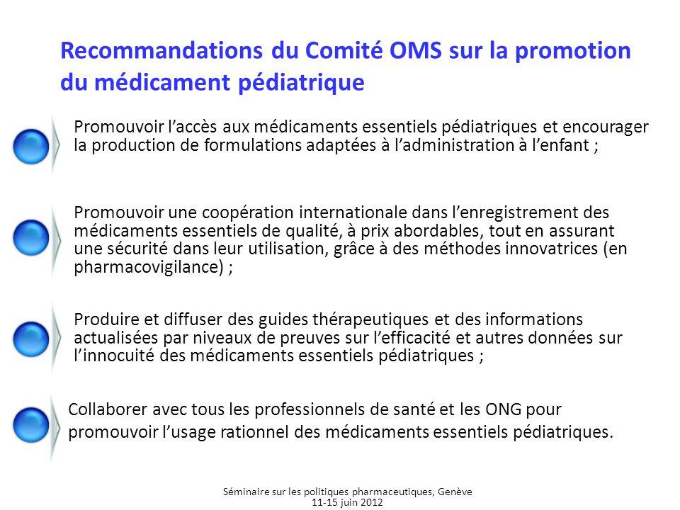 Recommandations du Comité OMS sur la promotion du médicament pédiatrique Promouvoir une coopération internationale dans lenregistrement des médicament