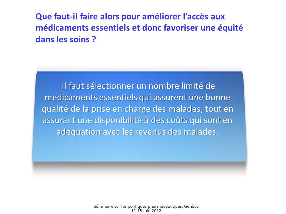Médicaments essentiels pédiatriques Séminaire sur les politiques pharmaceutiques, Genève 11-15 juin 2012