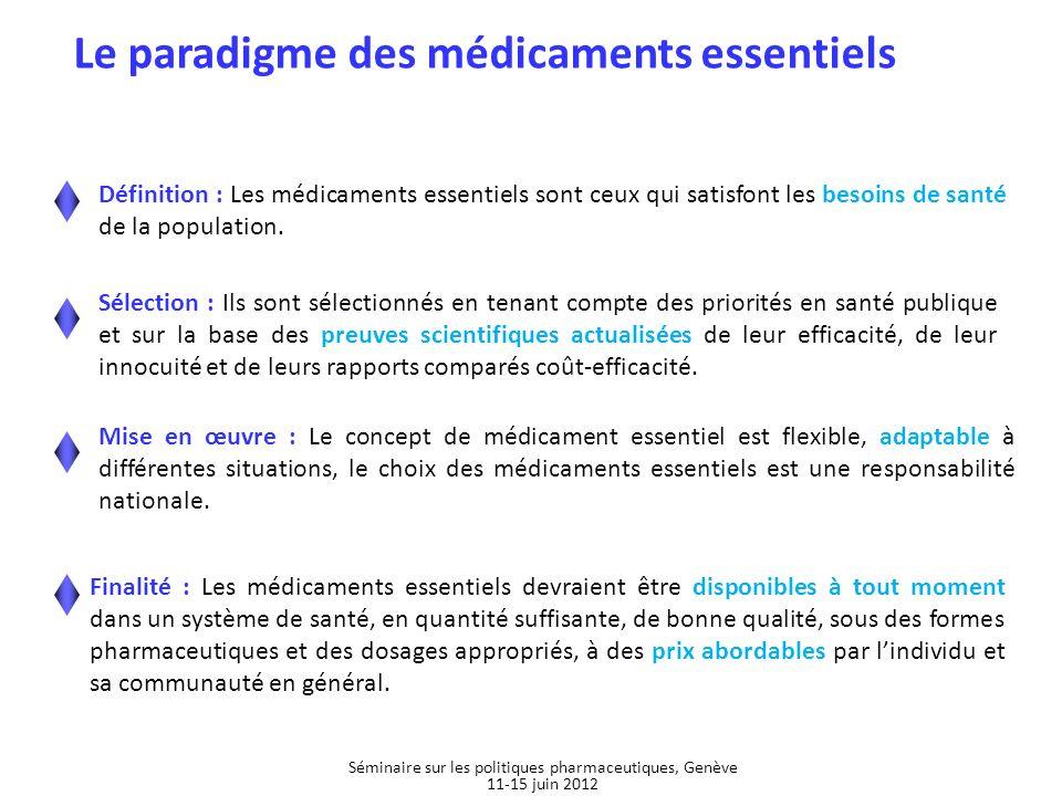 Définition : Les médicaments essentiels sont ceux qui satisfont les besoins de santé de la population. Sélection : Ils sont sélectionnés en tenant com