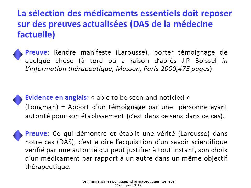 Médicaments essentiels pédiatriques Source: Meeting report, Joint WHO - Unicef Consultation on Essential Medicines for Children, 9-10 august 2006, Geneva Séminaire sur les politiques pharmaceutiques, Genève 11-15 juin 2012