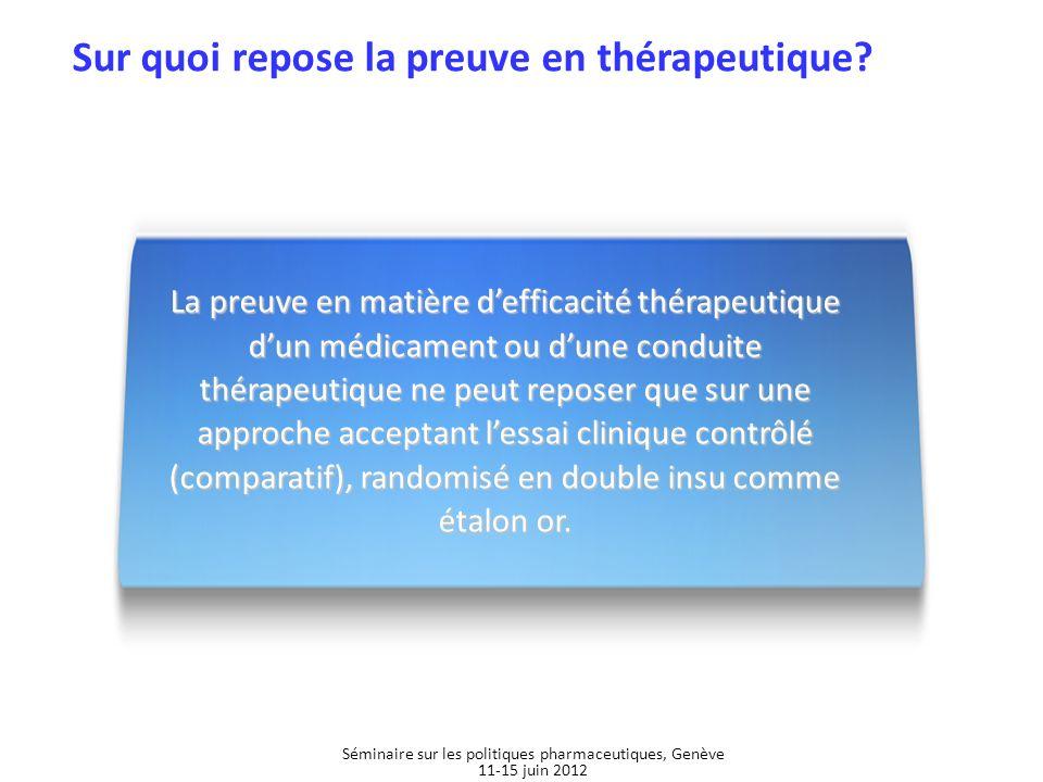 Sur quoi repose la preuve en thérapeutique? La preuve en matière defficacité thérapeutique dun médicament ou dune conduite thérapeutique ne peut repos
