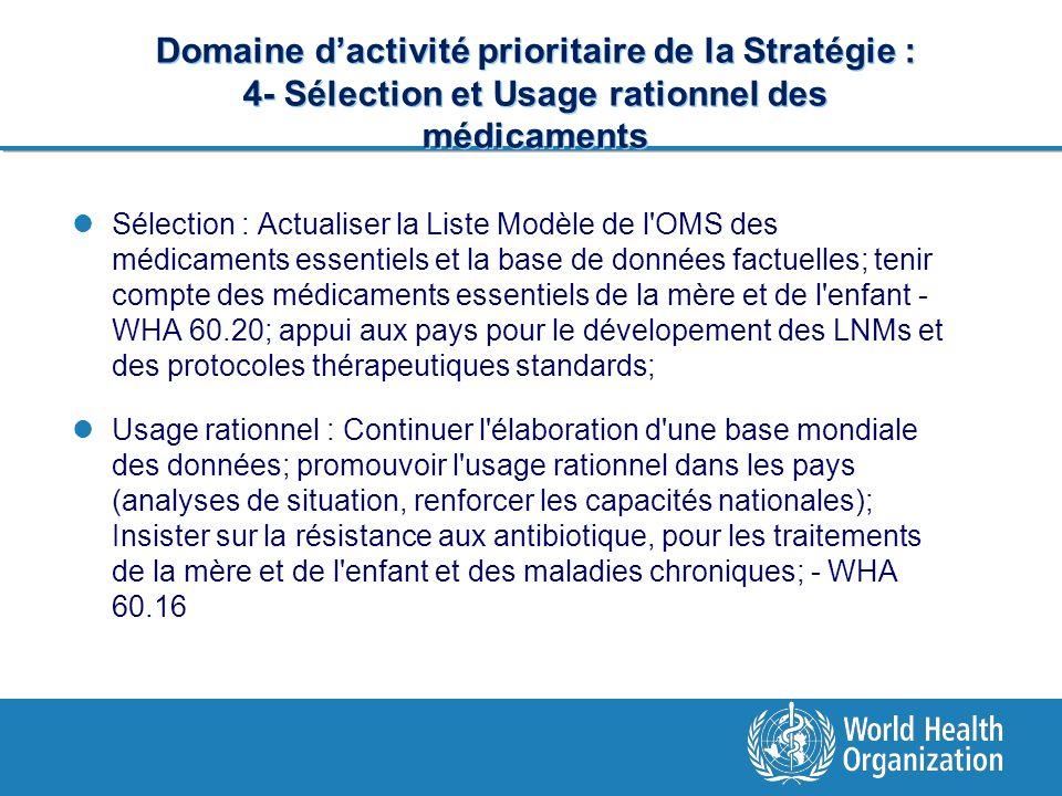 Domaine dactivité prioritaire de la Stratégie : 4- Sélection et Usage rationnel des médicaments Sélection : Actualiser la Liste Modèle de l'OMS des mé