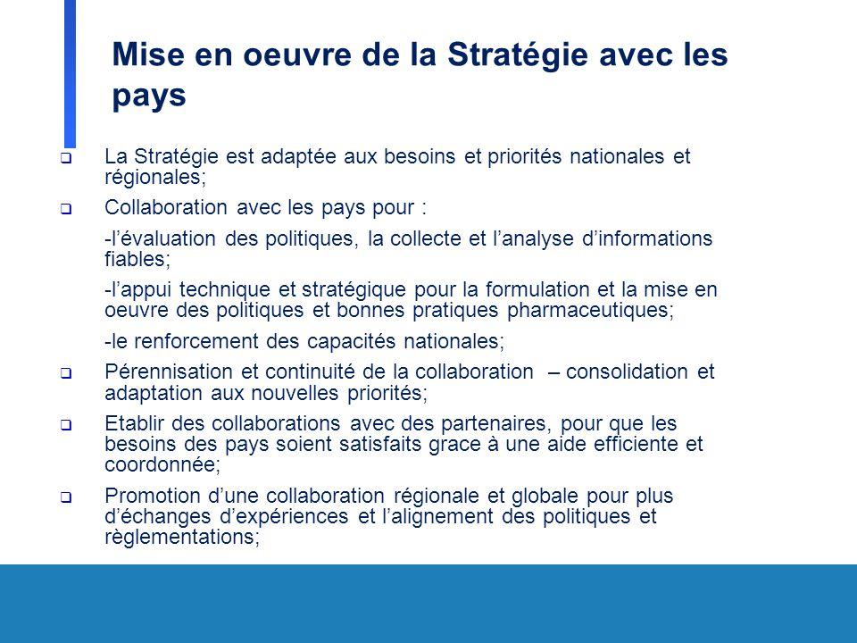 Mise en oeuvre de la Stratégie avec les pays La Stratégie est adaptée aux besoins et priorités nationales et régionales; Collaboration avec les pays p