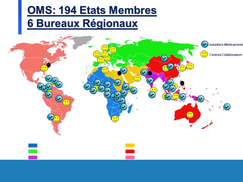 OMS: 194 Etats Membres 6 Bureaux Régionaux = Conseillers Médicaments Centres Collaborateur