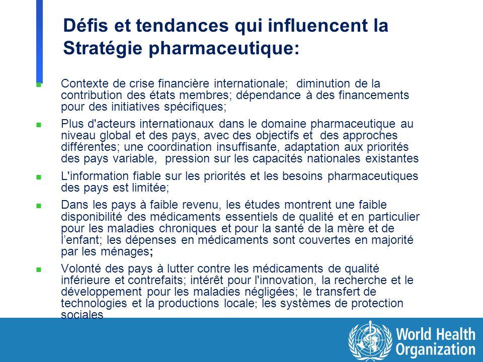 Défis et tendances qui influencent la Stratégie pharmaceutique: n Contexte de crise financière internationale; diminution de la contribution des états
