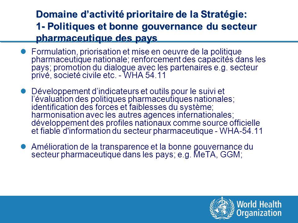 Domaine dactivité prioritaire de la Stratégie: 1- Politiques et bonne gouvernance du secteur pharmaceutique des pays Formulation, priorisation et mise