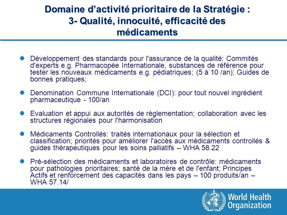 Domaine dactivité prioritaire de la Stratégie : 3- Qualité, innocuité, efficacité des médicaments Développement des standards pour l'assurance de la q