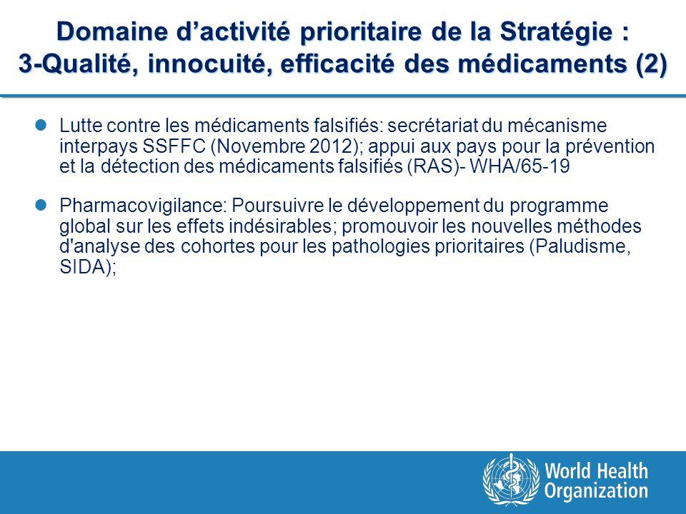 Domaine dactivité prioritaire de la Stratégie : 3-Qualité, innocuité, efficacité des médicaments (2) Lutte contre les médicaments falsifiés: secrétari