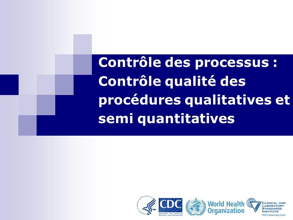 1 Contrôle des processus : Contrôle qualité des procédures qualitatives et semi quantitatives