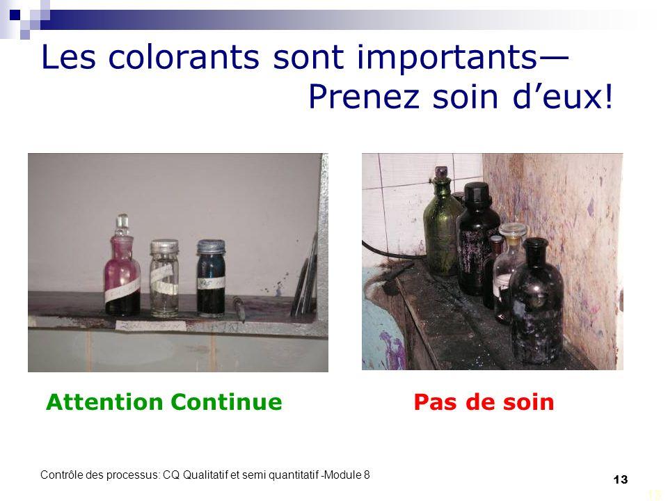 Contrôle des processus: CQ Qualitatif et semi quantitatif -Module 8 13 Les colorants sont importants Prenez soin deux.